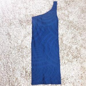 Bebe Sky Blue Swirl Bodycon One Shoulder Dress